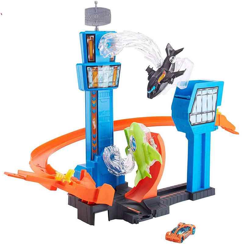 Hot Wheels Racing Car/mega Jump Track Set/funny Game Play Airport Flying Car