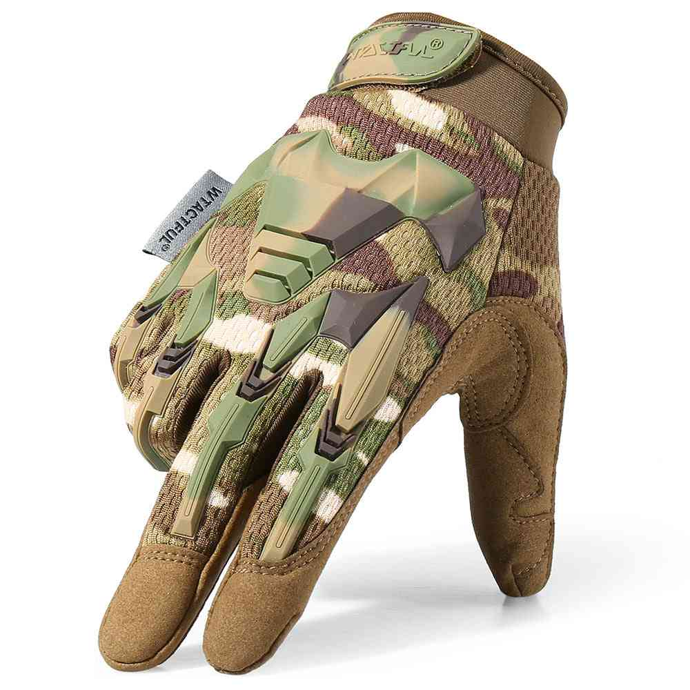 Multicam Tactical Glove, Camo Army Military Combat Bicycle Full Finger Gloves