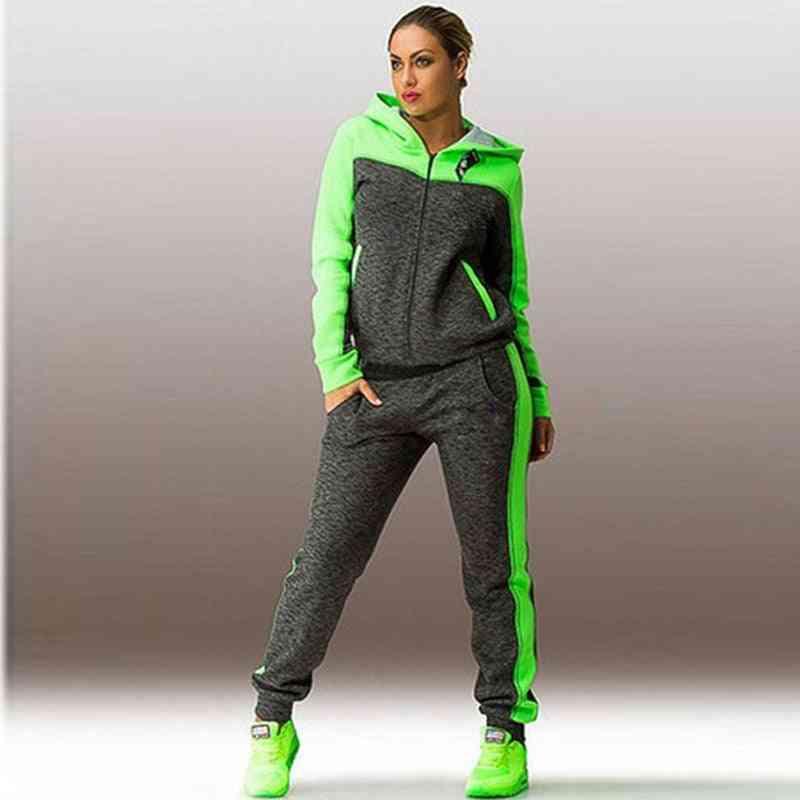 Solid Women Sport Running Set, Loose Hoodies Zippers Long Pant