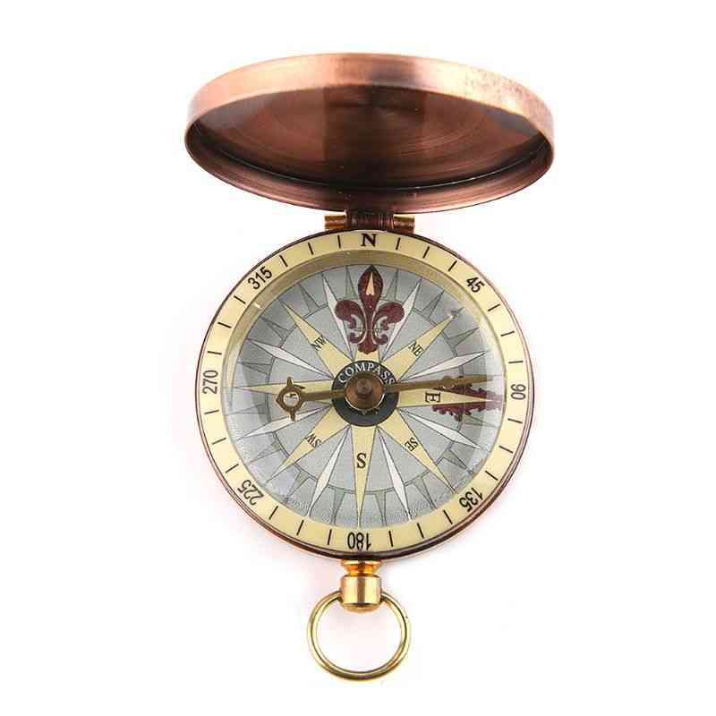 Vintage Copper Flip Cover Metal Pocket Watch Compass