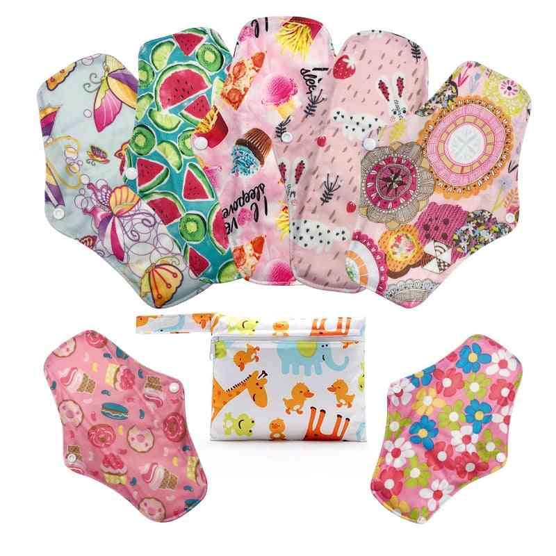 Reusable Bamboo Charcoal Print Menstrual Pads & Mini Wet Bag