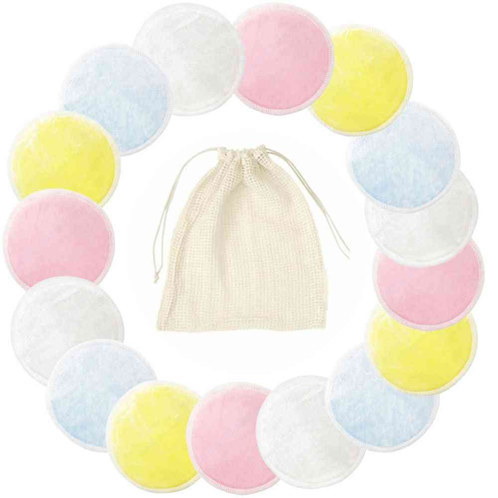 Reusable Bamboo Cotton Pads, Make Up Facial Remover Triple Layers Wipe Pad Washable With Laundry Bag