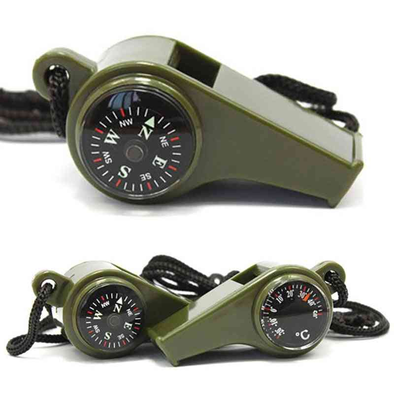 Outdoor Whistle Compass, Thermometer Multi-functional Survival Tools