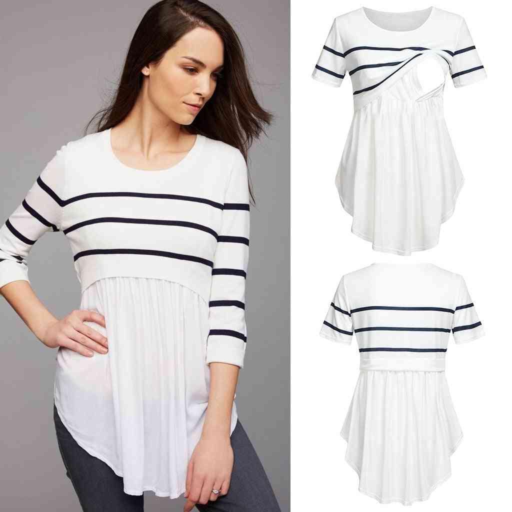 Women Pregnancy Striped Print Tops, Short Sleeve Shirt