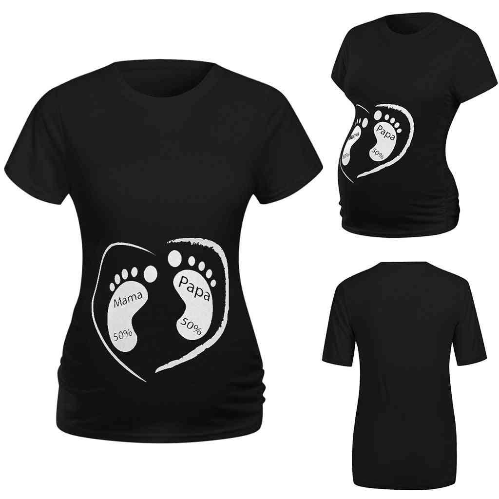 Women Short Sleeve Cute Cartoon Footprint Tops, Shirt Pregnancy Summer Clothes
