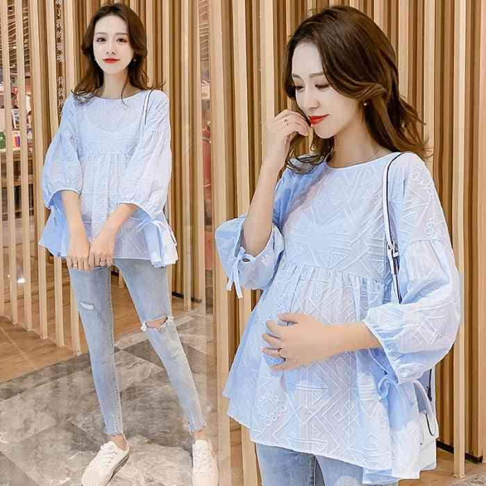 Elegant Summer Fashion Lace Cotton Blouse, Loose Tunic Clothes For Pregnant Women