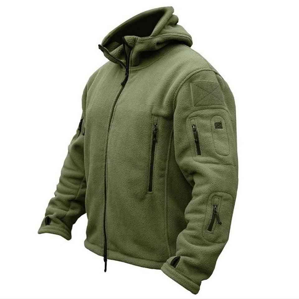 Men Military Winter Thermal Fleece Tactical Jacket, Sports Hooded Coat