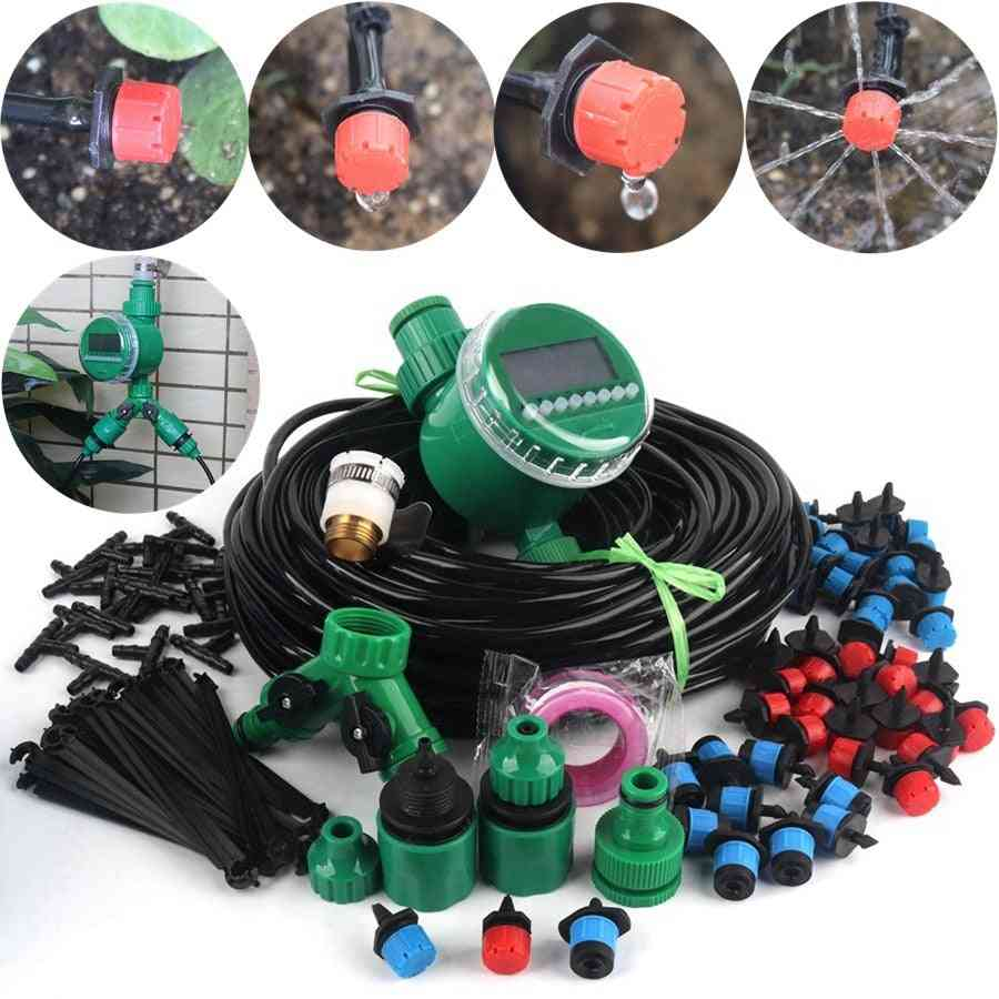Diy Timer Control Drip Irrigation System Automatic Watering Adjustable Drippers Garden