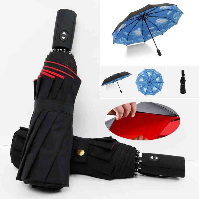 Full Automatic Oversize Reinforced Umbrella Three Folding & Women Parasol