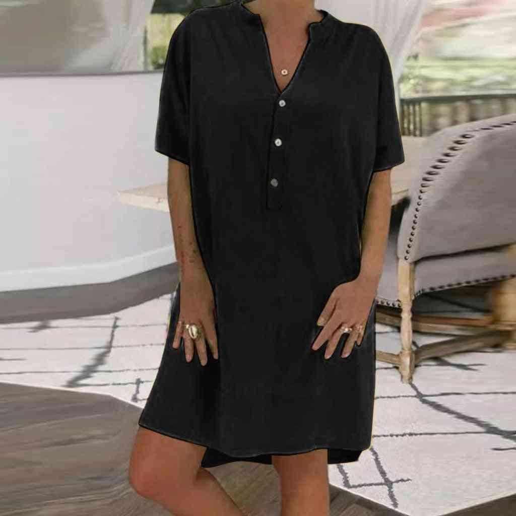 Solid Loose Basic-dress, Women Button Short Sleeve Tennis Dress