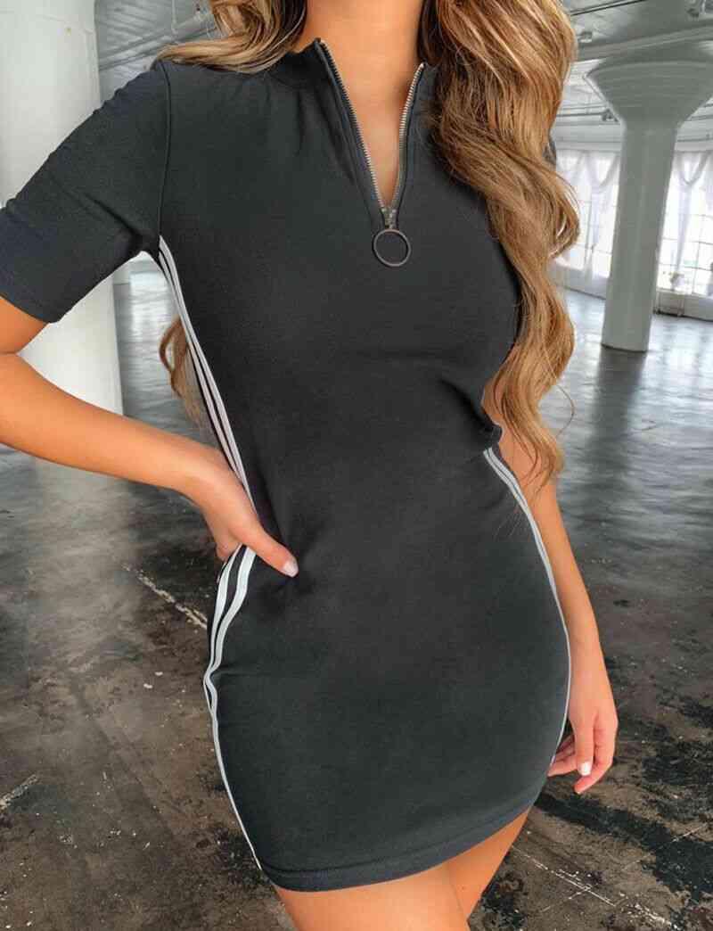 U-shape, Side Striped And Zipper Sportswear-tennis Dress