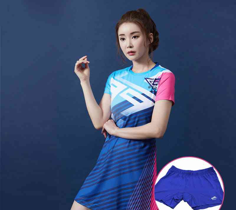 Women Sport Badminton / Tennis Dresses, Slim Sportswear Set With Safety Shorts
