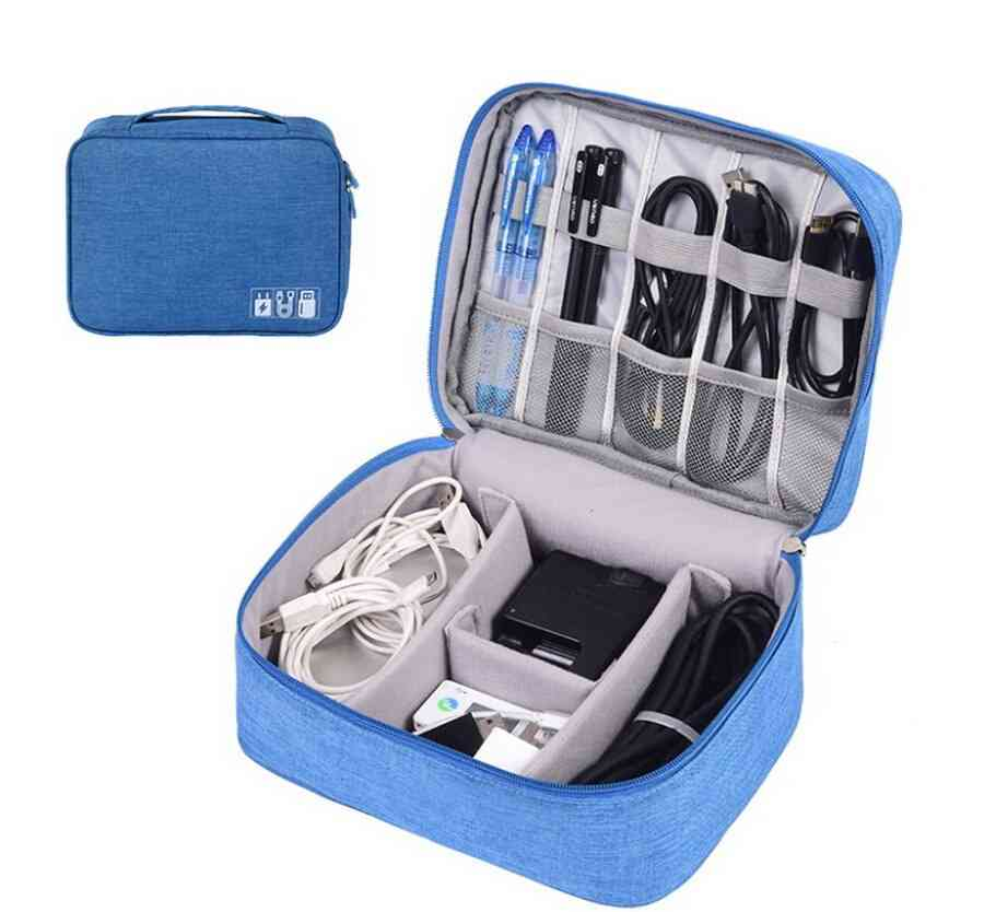 Travel Portable Digital Cable Usb Gadget Organizer Charger Wires Cosmetic Zipper Storage Case