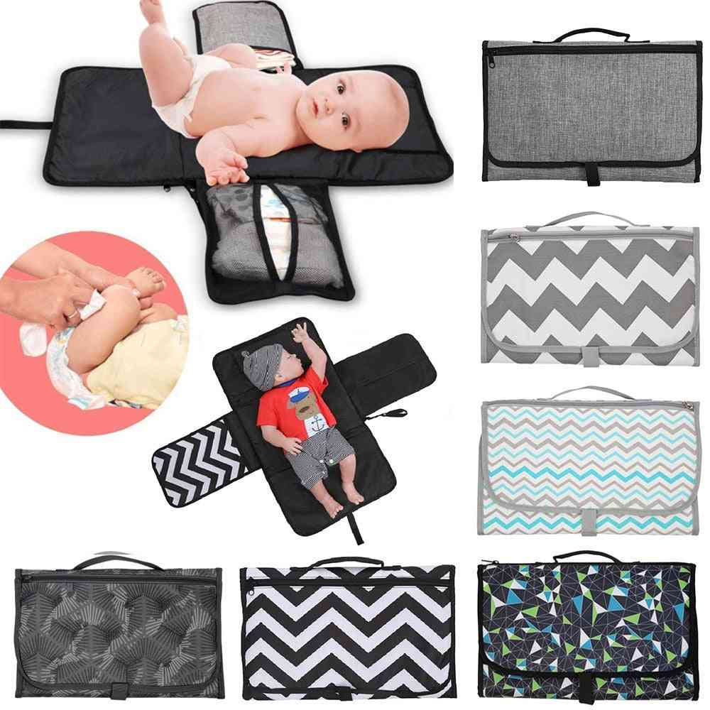 Portable Foldable Nappy Change Mat, Waterproof Tpe Diaper Changing Kit For Travel Outside