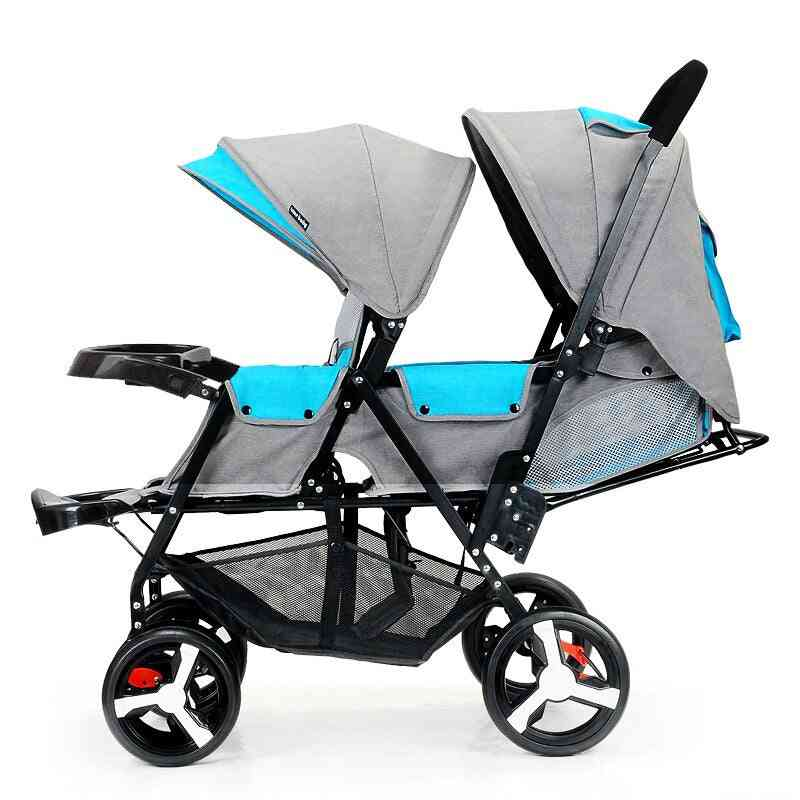 2 In 1 Baby Twin Double Stroller, Front And Rear Seat
