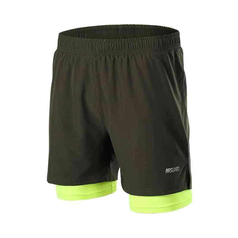 2 In 1 Men Running Shorts, Quick Dry Jogging Gym Fitness Sport Short With Zipper Pocket