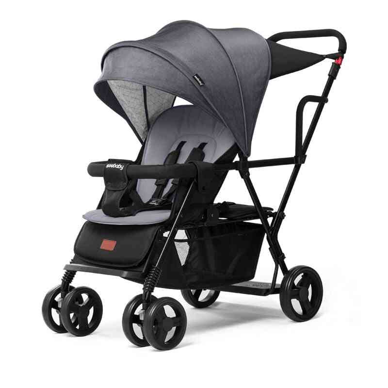 Lightweight Twin Baby Can Sit Reclining Strollers, Double Seat Cart