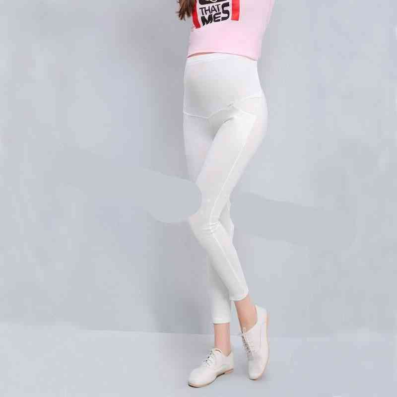 Solid Cotton Pants, Women High Waist Adjustable Belt Modal Pregnancy Trousers