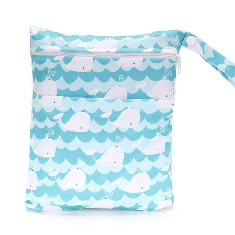 Waterproof And Moisture Proof-double Zipper Dry/wet Diaper Bags
