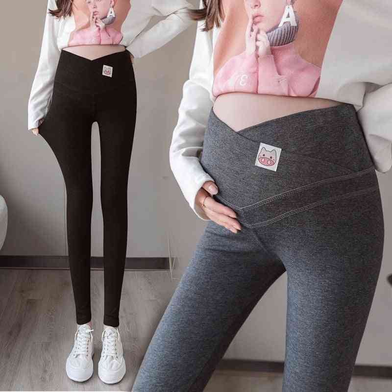 Across V Low Waist Maternity Leggings, Cartoon Knitted Cotton Clothes, Pregnancy Skinny Pants For Pregnant Women