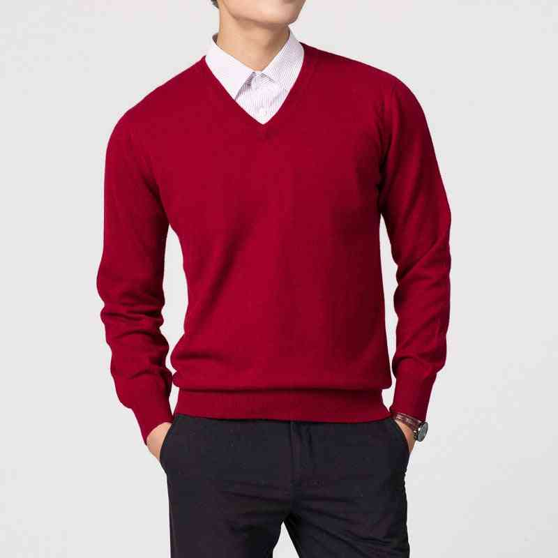 Men's Wool Fabric, V Neck Sweaters