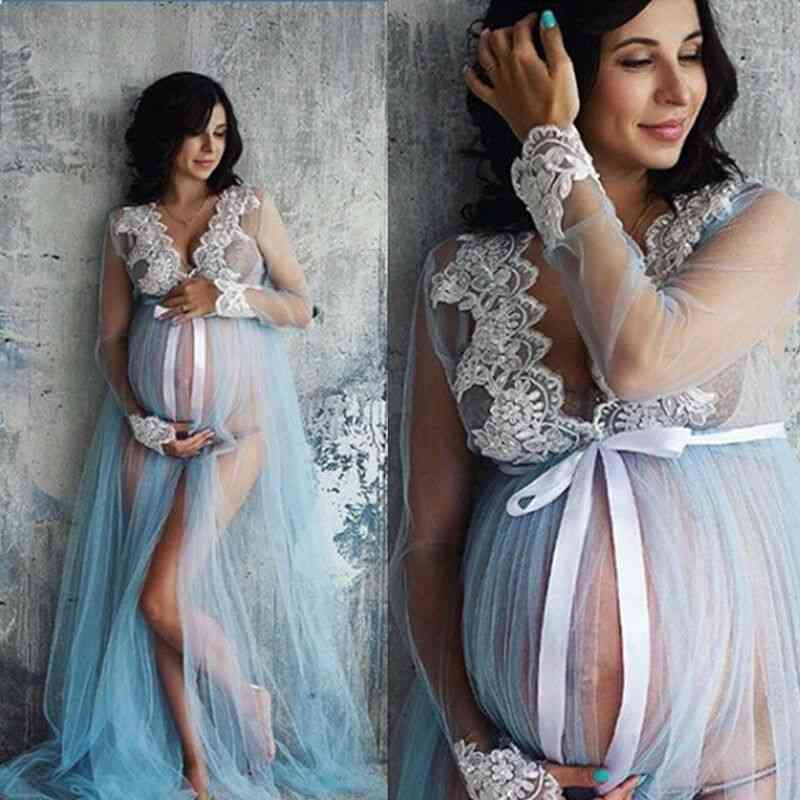 V-neck, Hollow Out Maternity Maxi Lace Dresses For Photo Shoot