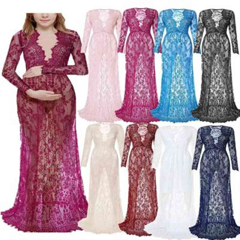 Fashion Photography Props Maxi Maternity Gown Lace Dress, Fancy Shooting Photo Summer Pregnant Dresses