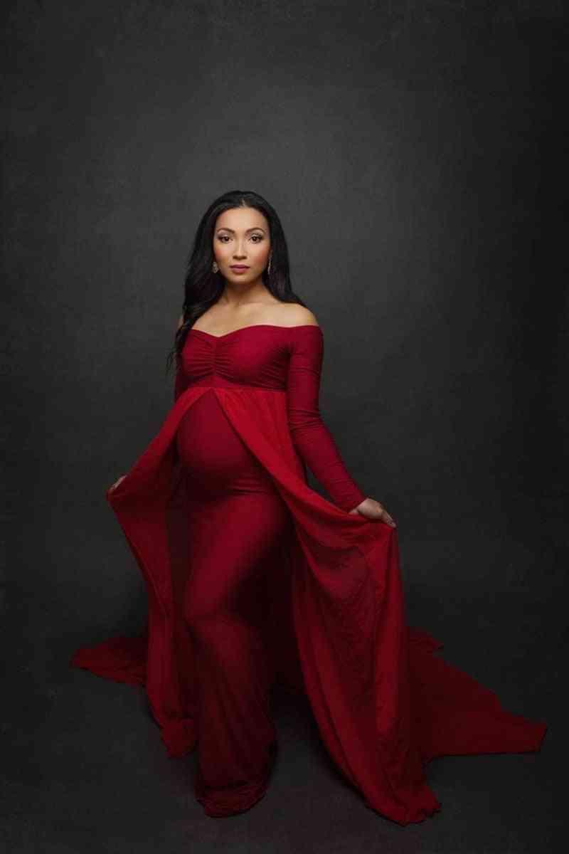 Shoulderless Long Sleeve Pregnancy Dress For Photo Shoot Pregnant Women Clothes
