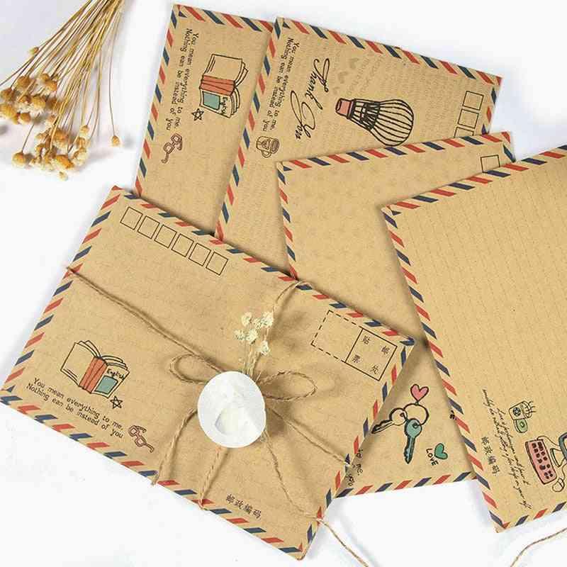 Vintage Large Envelope, Postcard Letter Stationery Paper Airmail Retro School Office Kraft Envelopes