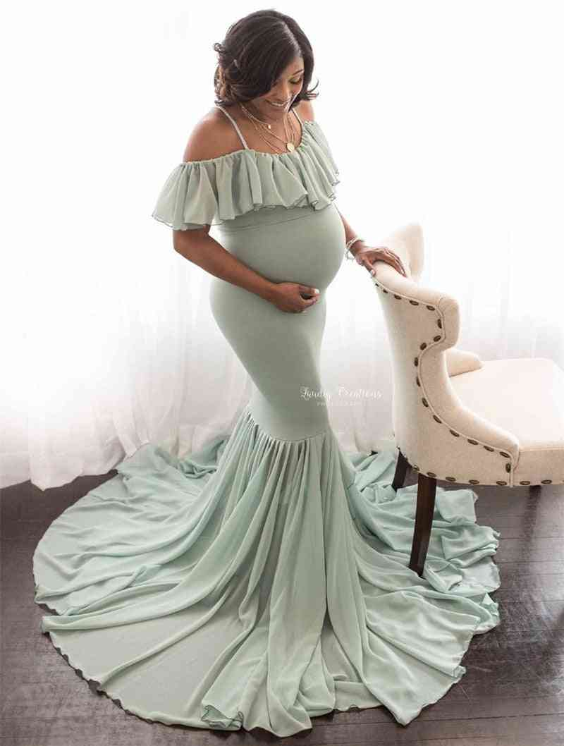 Mermaid Maternity Dresses For Photo Shoot Pregnant Women, Off Shoulder Maxi Gown