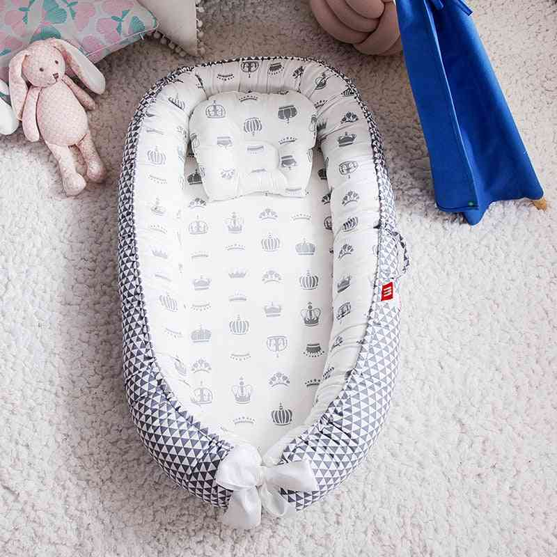 Baby Nest Portable Crib Travel Bed, Infant Cotton Cradle