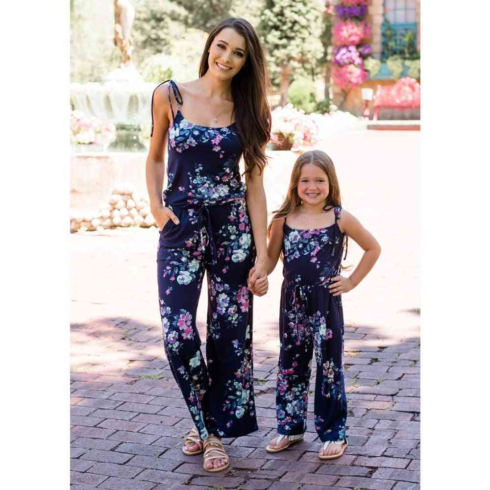 Sleeveless Floral Print, Matching Jumpsuit For Mother And Daughter