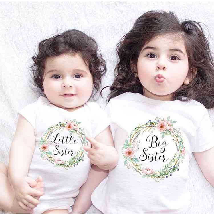 Short Sleeve, Casual Matching T-shirt And Romper For Little And Big Sister