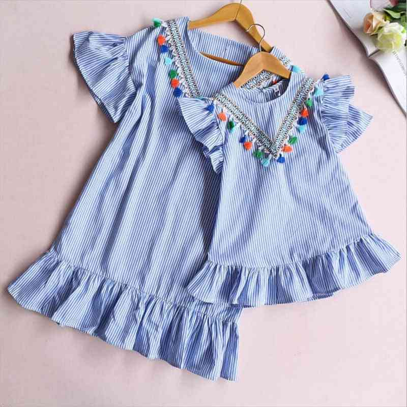 Striped And Tassel Pattern Mini Dress For Mother And Daughter-family Matching Clothes
