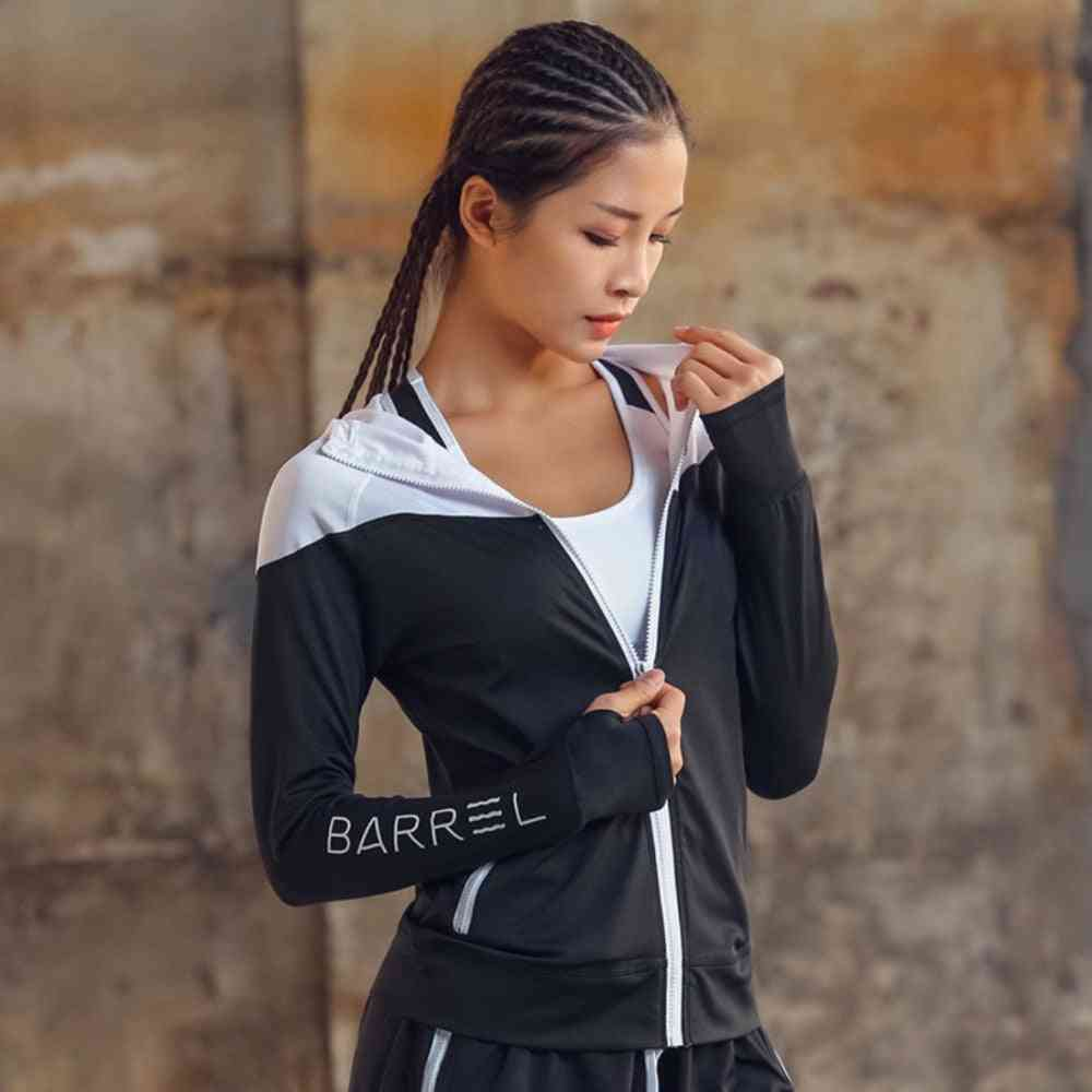 Hooded Women Running Jacket With Thumb Hole-zipper Fitness Cloths
