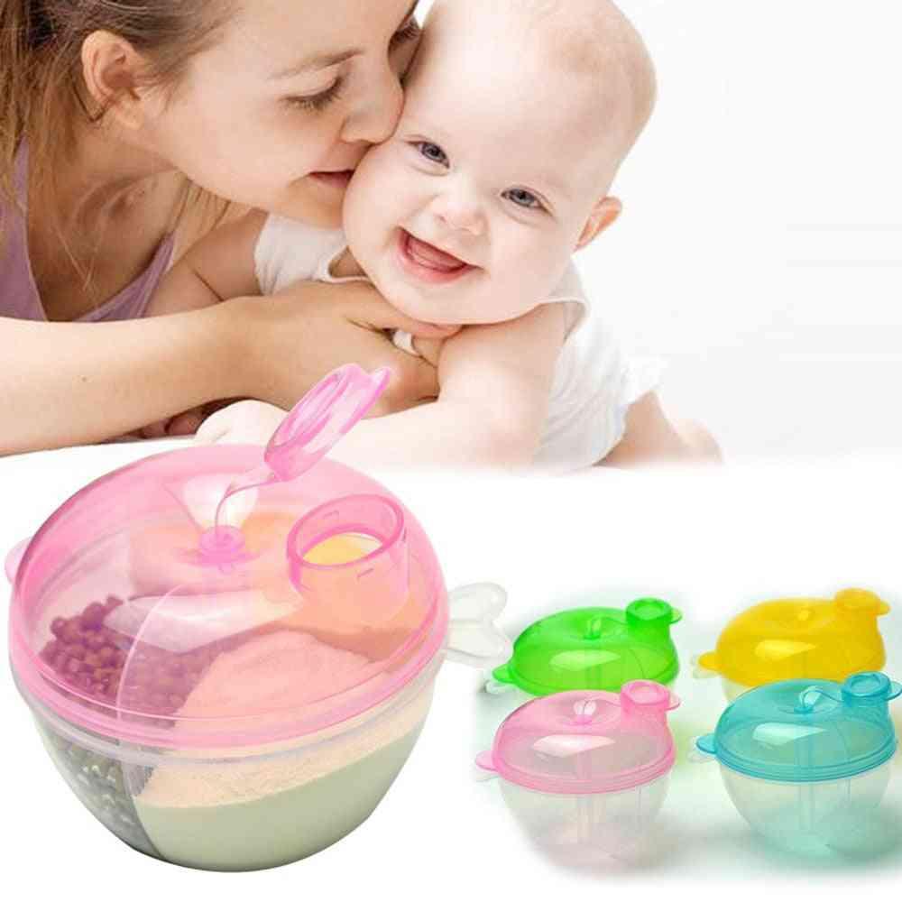 3 Lattice Pattern Baby Milk Powder Dispenser And Storage Box