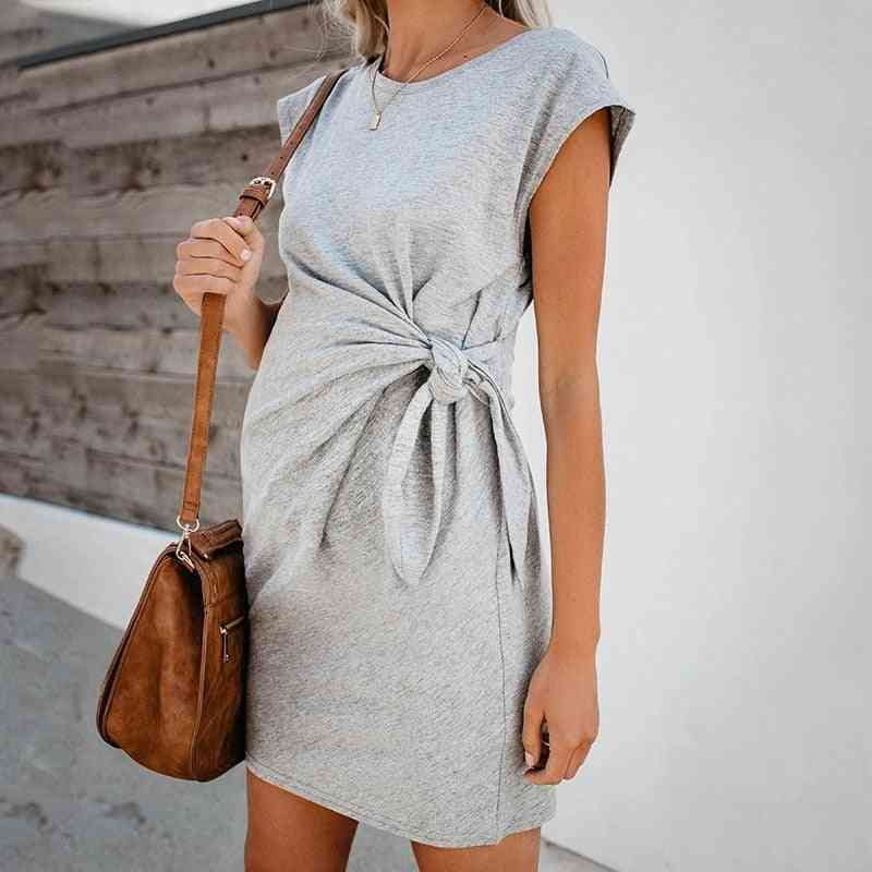 Tie-in Waist Pregnant Dress, Soft And Comfortable Cotton Spot Dress's