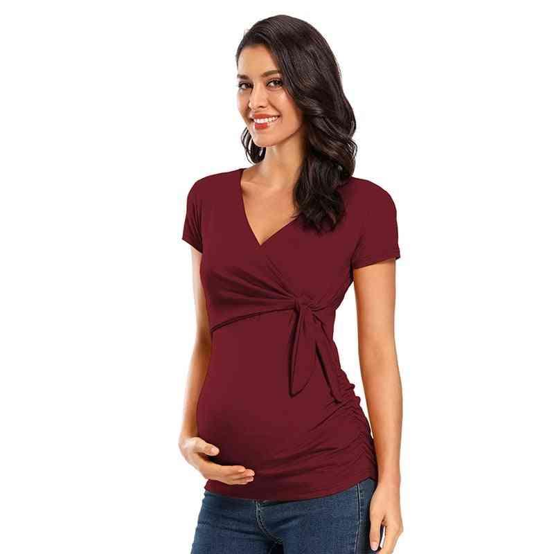 Women Maternity, Short Sleeve, Waist Tie Tops For Nursing