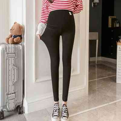 Across V Low Waist Belly Cotton Maternity Legging, Skinny Pants Clothes For Pregnant Women