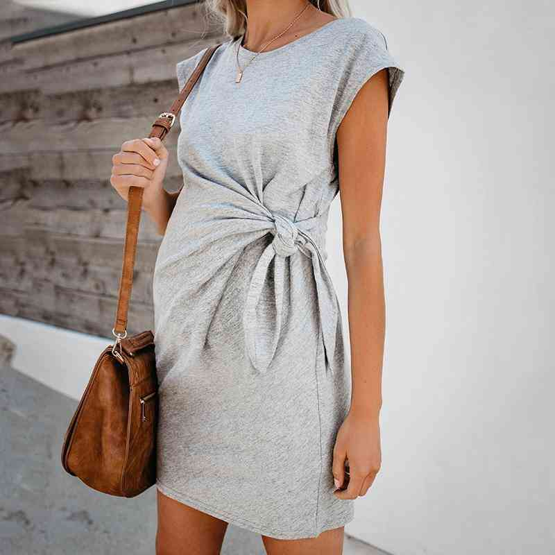 Loose Nursing Wrap High Waist Maternity Short Sleeve Double Layer Comfortable Solid Pregnant Dresses