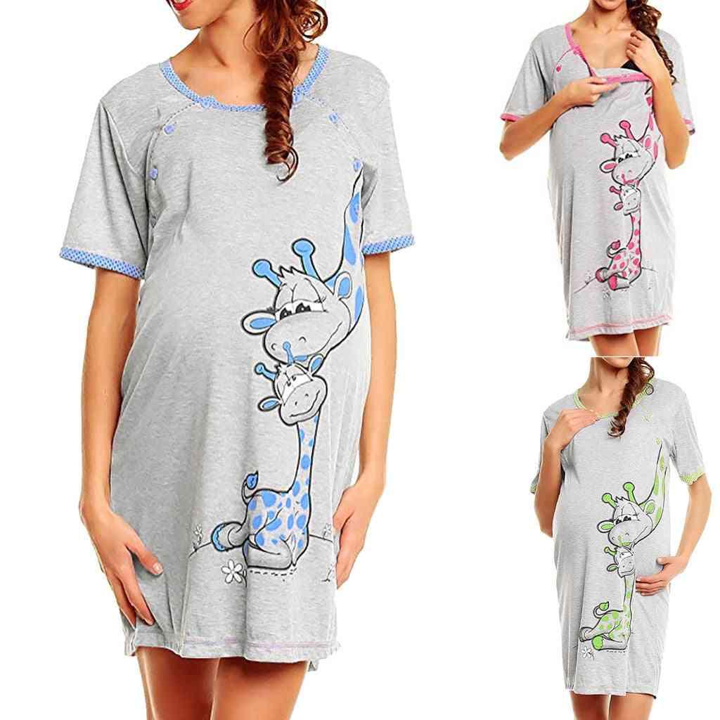 Maternity Dress Women Cartoon Print Short Sleeve Nightdress, Cotton Pregnant Clothes