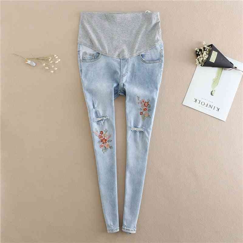 Maternity Jeans Clothes, Embroidery Flower Denim Hole Pencil Pregnancy Trousers