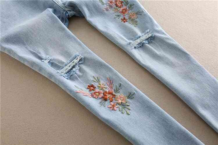 Embroidery Flower Denim Maternity Jeans, Summer Light Blue Ripped Hole Pencil Pregnancy Trousers Clothes