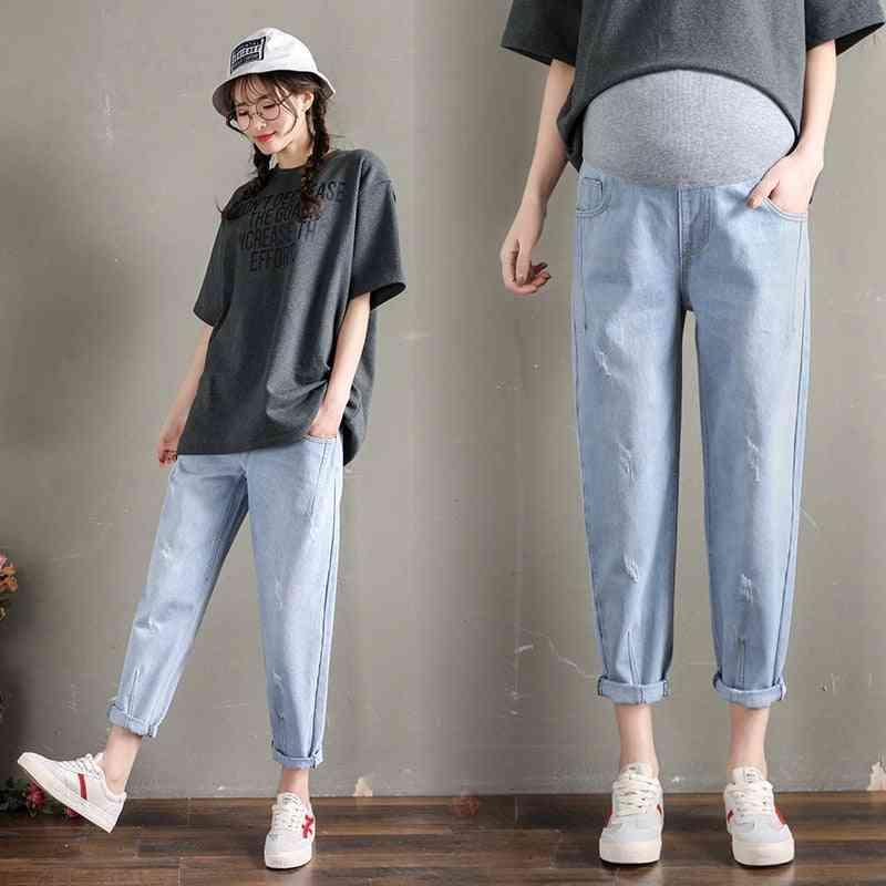 Maternity Jeans, Elastic Waist Belly Loose Pants, Women Pregnancy Trousers