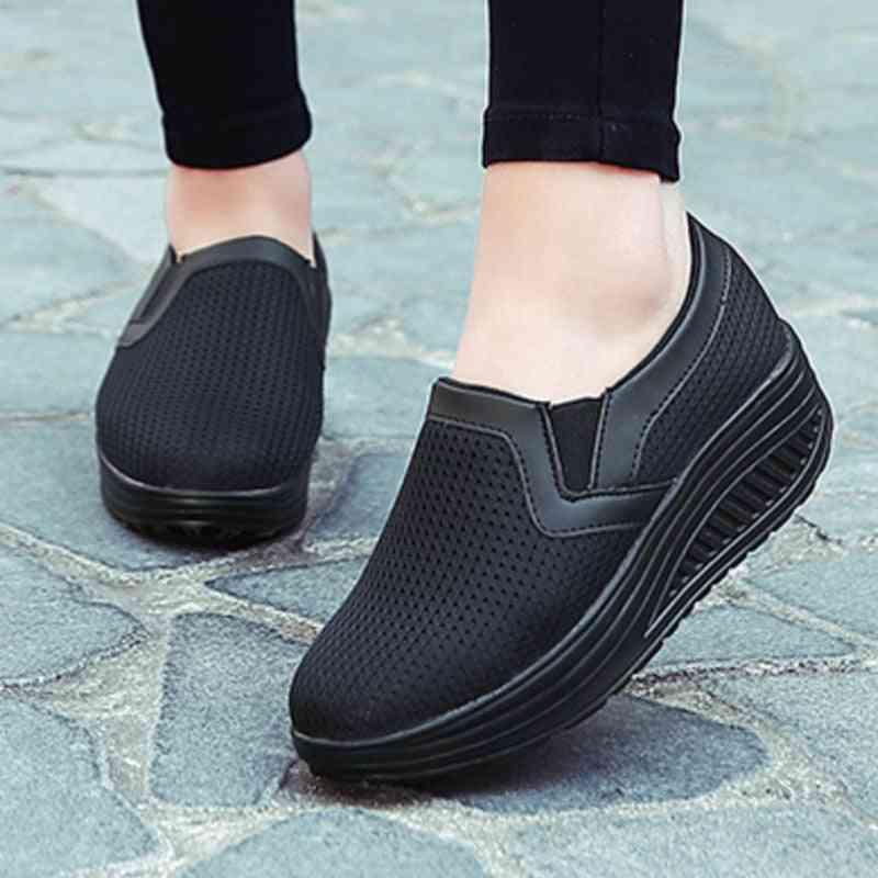 Women Toning Shoes, Weightlifting Increase Height Swing Platform Sneakers