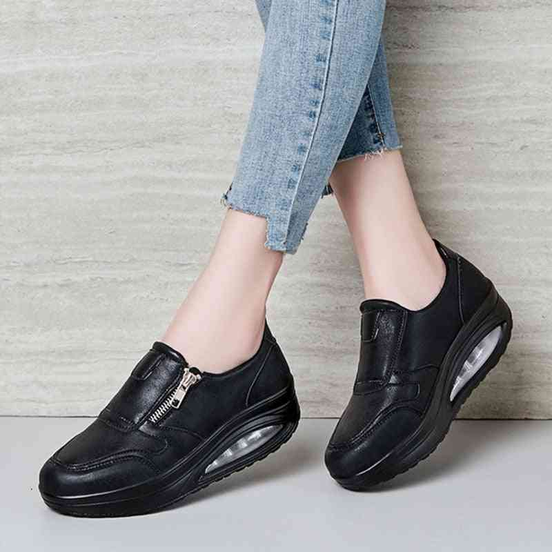Waterproof Wedge Sneakers Women Air Cushion Rocking Shoes, Thick Sole Slimming Increase Fitness