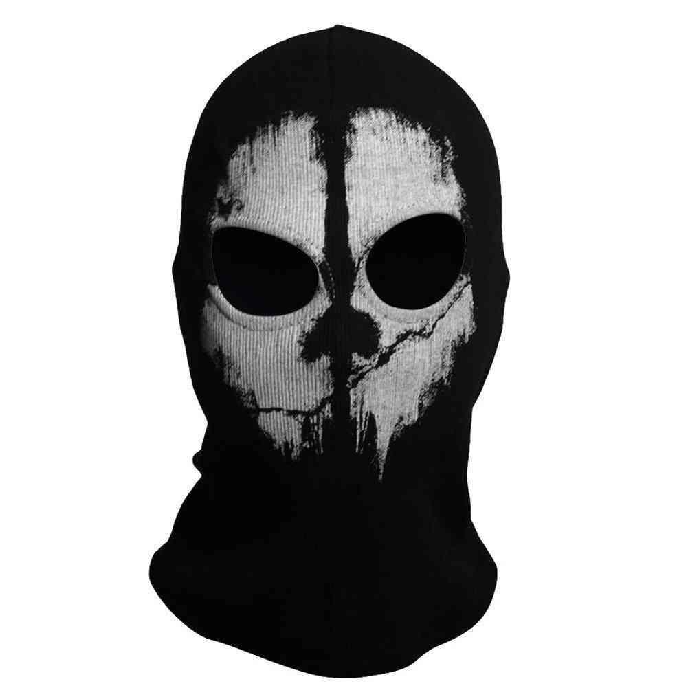 Hood Face Ghost Skull Mask, Halloween Skateboard Headgear Winter Hat