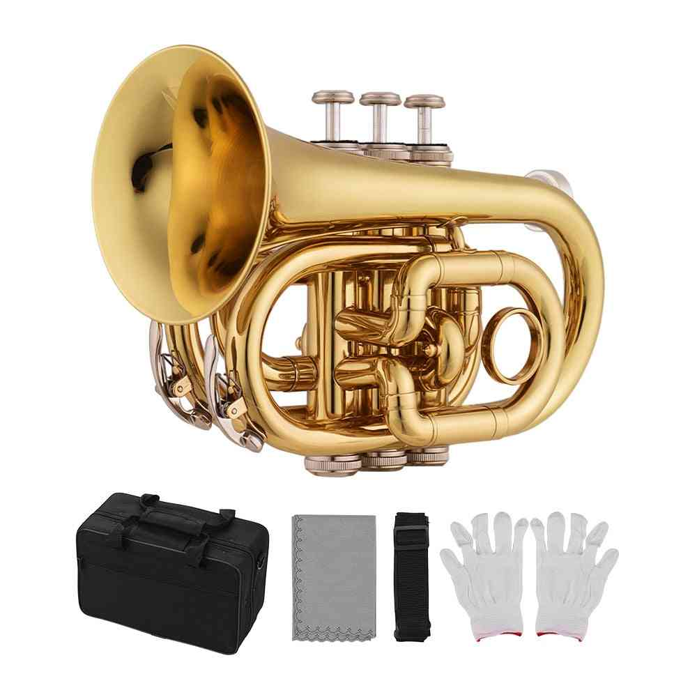Mini Pocket Trumpet Bb Flat Wind Instrument With Mouthpiece Gloves Case