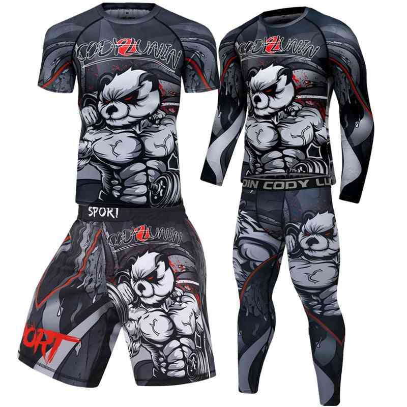 Men's Boxing Jersey Set, Fitness Compression Sportswear Clothing Running/jogging