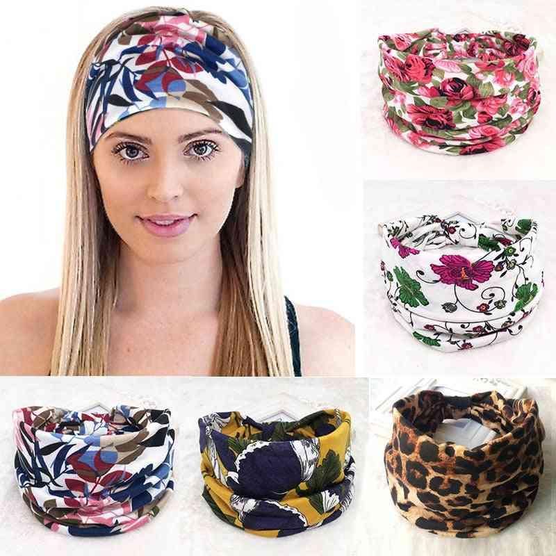 Cotton Women Headband Stretch Turban Hair Accessories Bandage Wide